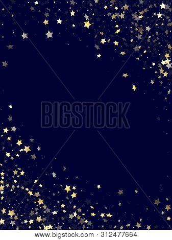 Gold Gradient Star Dust Sparkle Vector Background. Chic Gold Star Sparkles Dust Elements On Dark Blu
