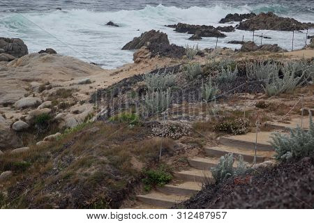 Steps Along The Coast At Asilomar State Beach In Pacific Grove