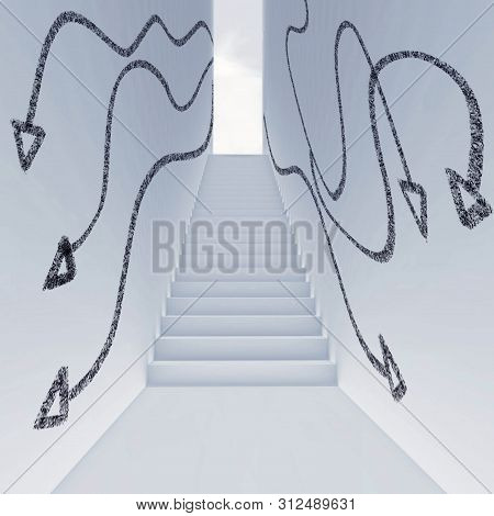 White Lobby With Stairs And Arrows Drawn On Walls.