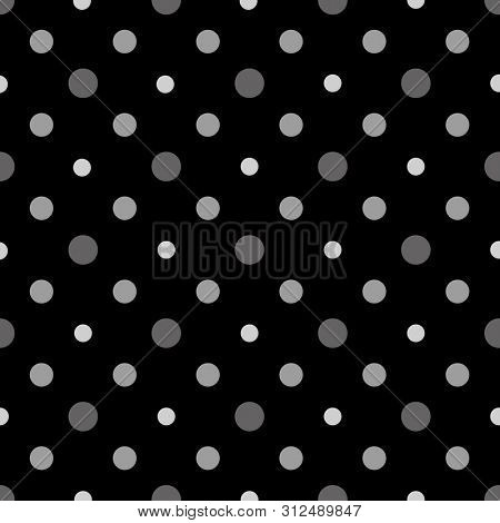 Black and White polka dots seamless vector pattern. Grayscale tileable background for wrapping paper design.