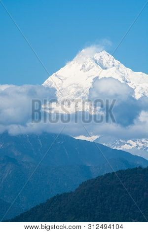 Mountains Peak With Snow And Clouds In North Sikkim, India.