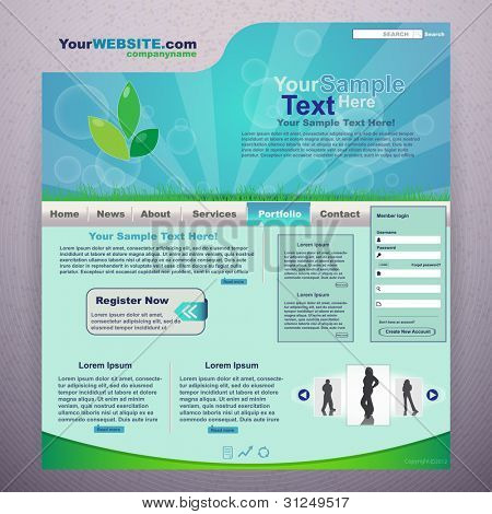 Nature website design template, vector
