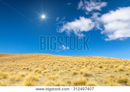 An image of a dry grass hill meadow with space for your content