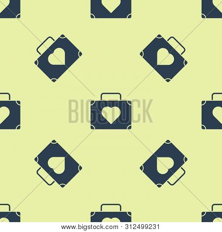 Blue Suitcase For Travel With Heart Icon Isolated Seamless Pattern On White Background. Honeymoon Sy