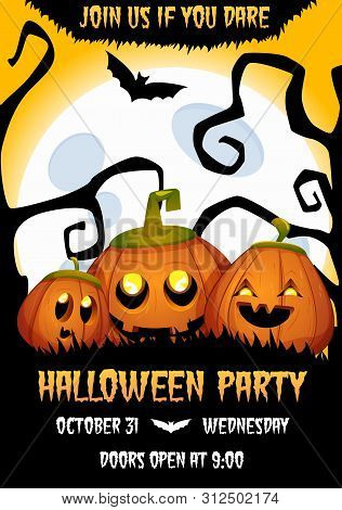 Halloween Banner With Pumpkin Characters. Party Invitation. Vector Illustration With Funny Happy Spo