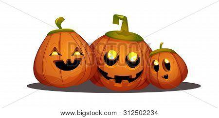 Happy Smiling Cartoon Halloween Pumpkin Head Jack Lantern Vector Illustration  Isolated On White Bac