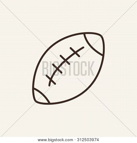 Rugby Ball Line Icon. Ball, Game, Competition. Sport Concept. Vector Illustration Can Be Used For To