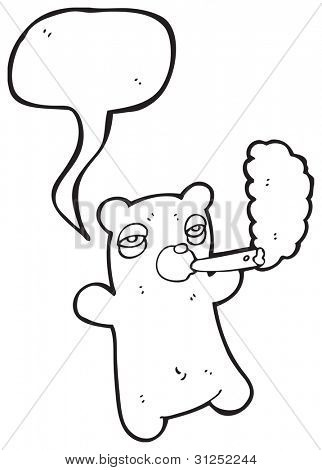 cartoon stoned teddy bear smoking joint poster