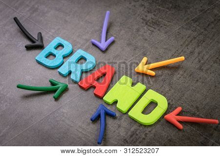 Brand, Marketing Or Advertising To Promote Company Or Product Value Concept, Multi Color Arrows Poin