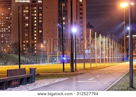 Landscape Of Night Big City At Night With Lights And High-rise Buildings