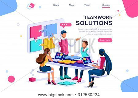 Teamwork Images, Together Solutions, Partnership Collaboration And Communication. Pieces Of Project