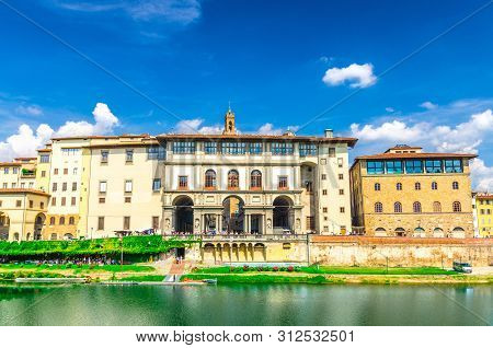 Museo Galileo Museum, Gallerie Degli Uffizi Gallery And Buildings On Embankment Promenade Of Arno Ri