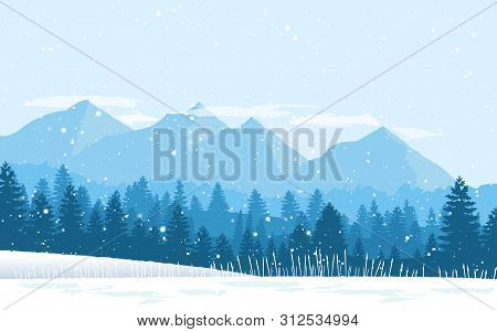 Beautiful Winter Flat Landscape Background. Winter Landscape With Mountains And Snowfall. Flat Desig