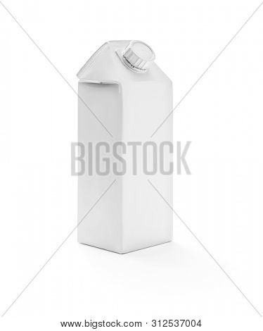 White milk box with cap on white background, including clipping path
