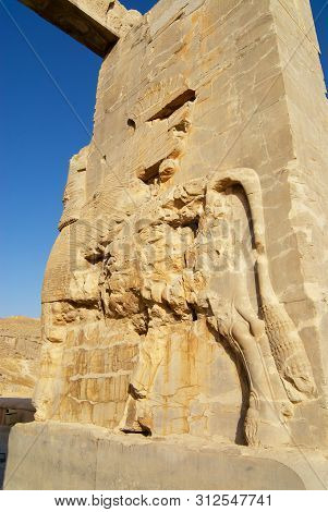 Shiraz, Iran - June 19, 2007: Bas-relief Of A Lion At The Gate Of Nations Of Persepolis In Shiraz, I