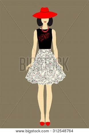 Women Dress. Beautiful Dress For Woman  With A Decorative Flowers  Pattern. Abstract Pink Flowers On
