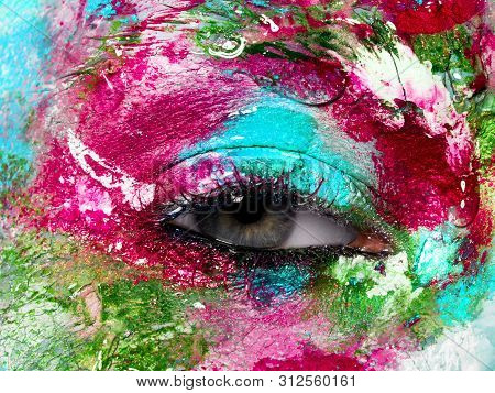 Beauty, Cosmetics. Magic Eyes Look With Bright Creative Makeup . Close Up View Of Female Eye With Br
