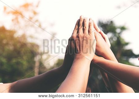 People Hands Assemble As A Connection Meeting Teamwork Concept. Group Of People Assembly Hands As A