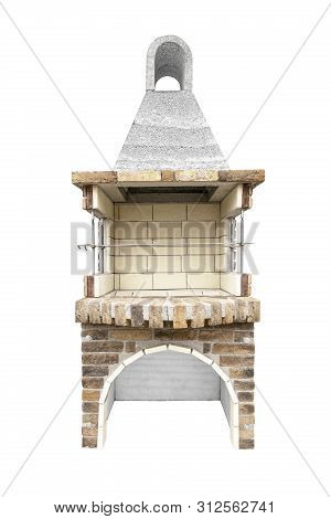 Barbecue Open Fireplace For Cookout Food. Outdoor Bbq Grill. Open Summer Kitchen. Barbeque Grill Mad