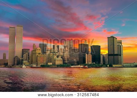 World Trade Center Featured As Landmark Of The Twin Towers At Colorful Sunset Sky. Archival And Hist