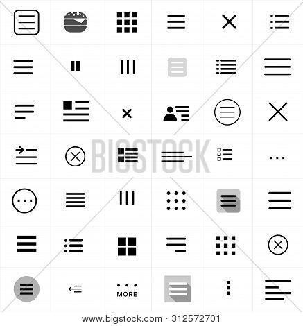 Set Of Menu Icons. Flat Web Menu Icons Signs Collection. Set Of Black Navigation Menu Hamburger Line
