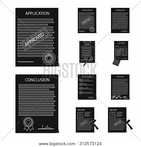 Vector Design Of Form And Document Sign. Set Of Form And Mark Stock Vector Illustration.