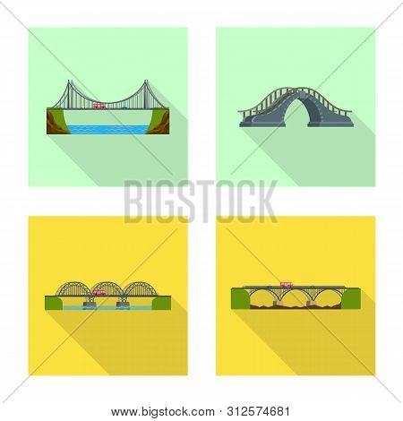 Vector Design Of Bridgework And Bridge Sign. Collection Of Bridgework And Landmark Stock Symbol For
