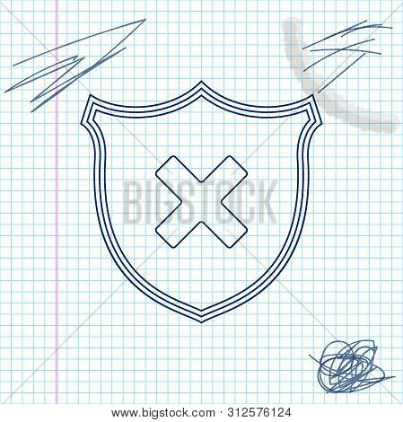 Shield And Cross X Mark Line Sketch Icon Isolated On White Background. Denied Disapproved Sign. Prot
