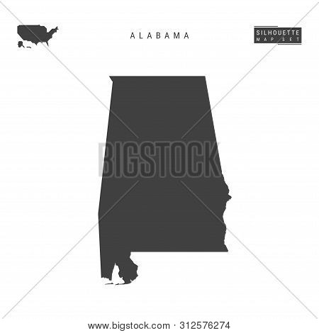 Alabama Us State Blank Vector Map Isolated On White Background. High-detailed Black Silhouette Map O