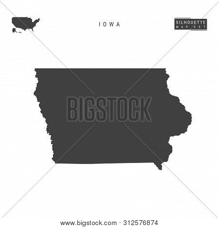 Iowa Us State Blank Vector Map Isolated On White Background. High-detailed Black Silhouette Map Of I