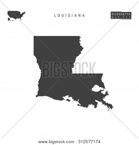 Louisiana Us State Blank Vector Map Isolated On White Background. High-detailed Black Silhouette Map