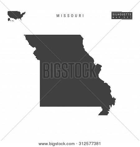 Missouri Us State Blank Vector Map Isolated On White Background. High-detailed Black Silhouette Map