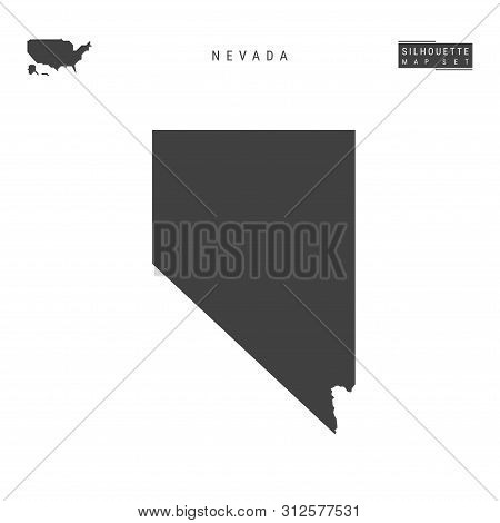 Nevada Us State Blank Vector Map Isolated On White Background. High-detailed Black Silhouette Map Of