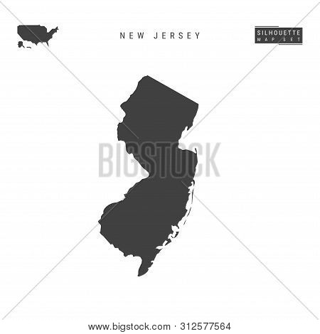New Jersey Us State Blank Vector Map Isolated On White Background. High-detailed Black Silhouette Ma