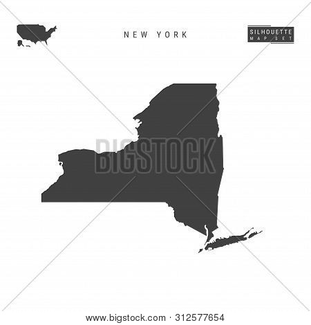 New York Us State Blank Vector Map Isolated On White Background. High-detailed Black Silhouette Map