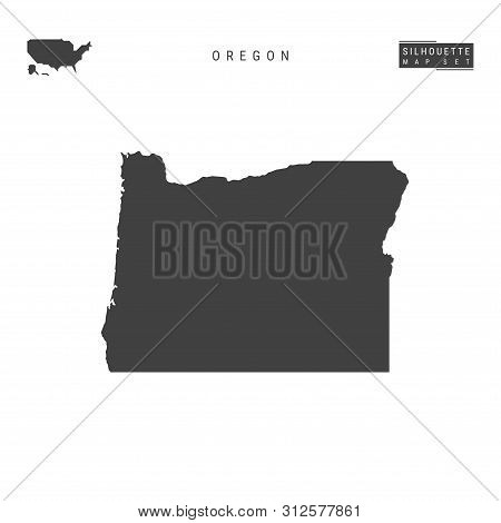 Oregon Us State Blank Vector Map Isolated On White Background. High-detailed Black Silhouette Map Of