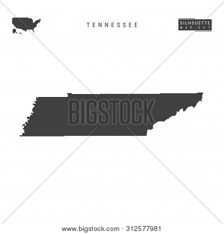 Tennessee Us State Blank Vector Map Isolated On White Background. High-detailed Black Silhouette Map