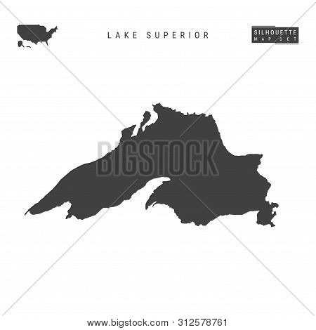 Lake Superior Blank Vector Map Isolated On White Background. High-detailed Black Silhouette Map Of L