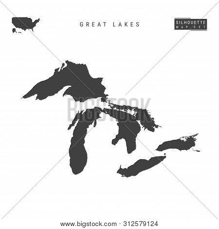 All The Great Lakes Of North America Blank Vector Map Isolated On White Background. High-detailed Bl
