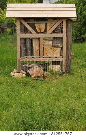 Insect Hotel For Hibernation Of Solitary Insects In A Meadow