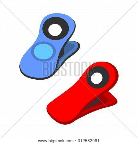 Isolated Object Of Pin And Clothespin Symbol. Collection Of Pin And Shape Stock Vector Illustration.