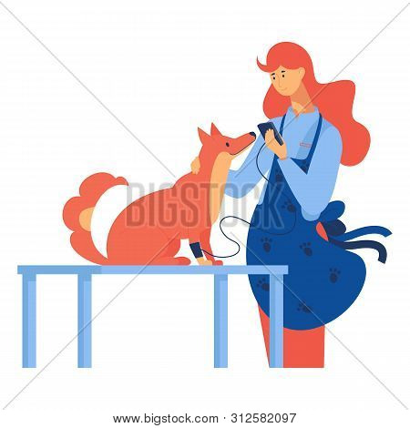 Isolated On White Background Flat Scene With Dog And Veterinarian In Bright Colors. Modern Concept I