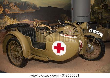 Amman, Jordan 17 June 2019 - Zundapp Classic Motorbike Of War In Royal Automobile Museum In Amman In