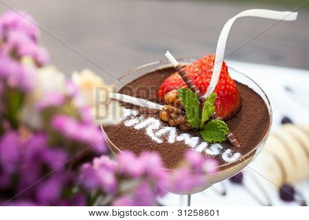 Tiramisu dessert in glass cup