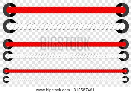 Vector, 3 Different Size, Red And White Horizontal Rope, For Indonesia Independence Day Celebration