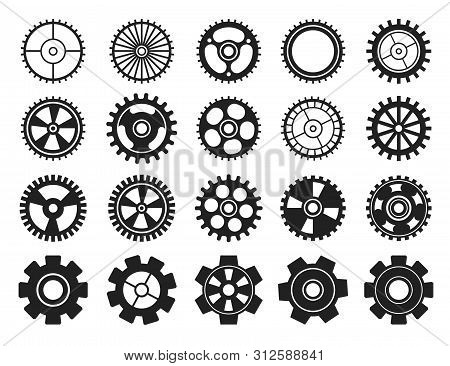 Cogwheel Flat Machine Gear Icon. Set Of Black Machine Gear On A White Background: Wheel Cogwheel Vec