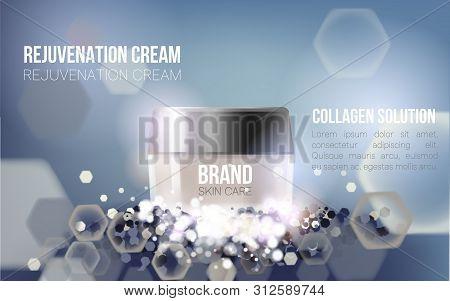 Regeneration Cream. Collagen Serum And Vitamin Background Concept Skin Care Cosmetic.container Mocku