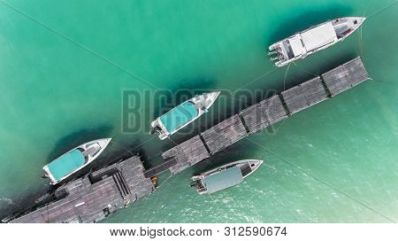 Top View From Sky Of Boat Marina.
