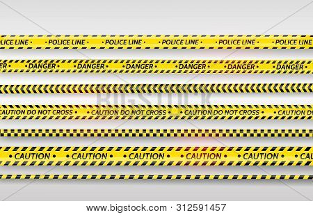 Black And Yellow Stripes Set. Warning Tapes. Danger Signs. Caution, Stop, Under Construction, Barric