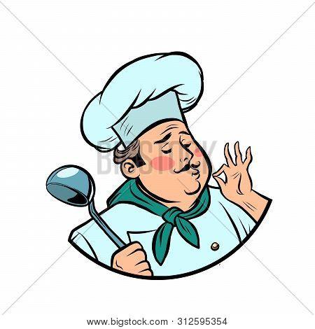 Cook Ok Gesture, Gourmet Food Taste. Comic Cartoon Pop Art Retro Vector Drawing Illustration